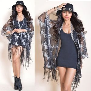 Sheer Black Lace Kimono Sequins Fringe Cocktails